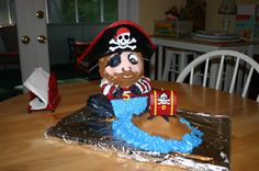 Pirate cake made from a bear pan.  Hat from dollar store.  Done 9/06