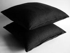 "$30 Size: 24 x 24"" Fabric: linen Black pillows decorative throw by sukan"