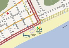 Olympic Map of the Ipanama and Copacabana areas. Available as editable vector map in Adobe Illustrator