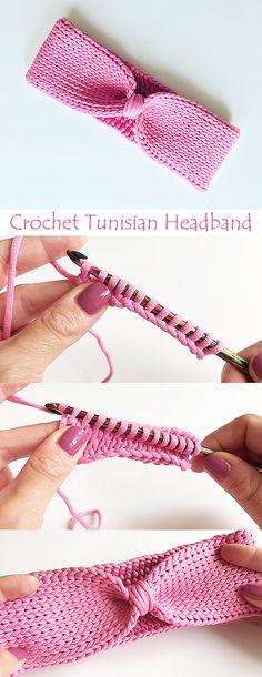 Learn how to crochet a headband using Tunisian knit stitch. Learn how to crochet a headband using Tunisian knit stitch. Crochet Headband Free, Crochet Kids Scarf, Tunisian Crochet Patterns, Crochet For Kids, Free Crochet, Knitting Patterns, Knit Crochet, Crochet Simple, Crochet Instructions