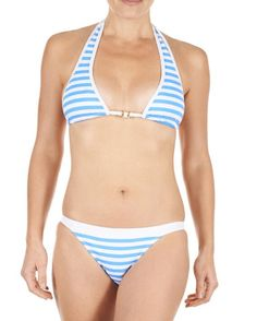 Striped Bow Clasp Two Piece Bathing Suit. Nautical StyleNautical Fashion Swimming OutfitSummer ... 7c8b3374a