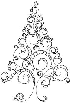 Colour it, sew it, trace it, etc. Christmas tree doodle. MontanaRosePainter