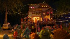Pizza Planet Truck -Monsters University(2013) Parked next to the JΘX house at the first party. It receives some modifications to fit the monster world, like a six-wheel configuration, more pointy lights, and different proportions.