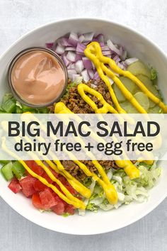 Keto Big Mac Salad with a creamy dairy-free dressing sauce. This is a healthy low carb salad, perfect for lunch or dinner! Bunless burger bowl with romaine lettuce, ground beef or turkey, red onion, pickles, peppers, and more! Paleo, weight watchers, non dairy Dairy Free Salads, Dairy Free Yogurt, Dairy Free Cheese, Dairy Free Eggs, Healthy Family Meals, Family Recipes, Easy Salad Recipes, Vegan Recipes Easy, Best Salads Ever