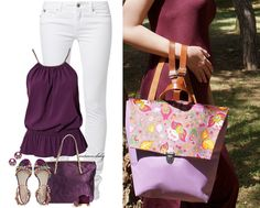 Younique backpack with purple faux leather and floral cap. Straps are from genuine leather.  Find it now in http://younique.gr/shop/