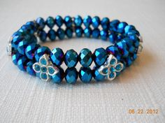 """7"""" Two Row Deep Blue Matalic Bead and Rhinestone by maryannsway on Etsy"""