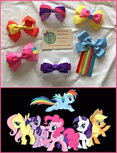 My little pony inspired hair bows designed by me