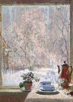 "post-impressionism: "" Through the Window in Winter Konstantin Gorbatov "" Art And Illustration, Illustrations, Post Impressionism, Window Art, Window View, Through The Window, Russian Art, Coffee Art, Coffee Shop"