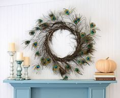 Peacock Feather Wreath tutorial  Love this! Really want to make it