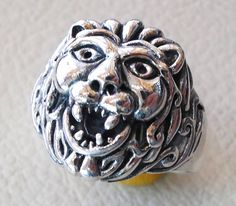 lion ring  heavy sterling silver 925 man biker by AbuMariamJewels
