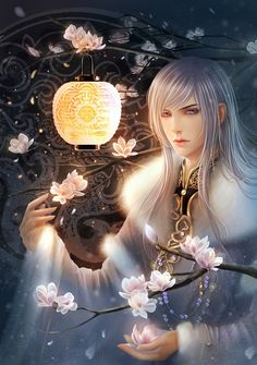 chinese male white-haired flower lantern