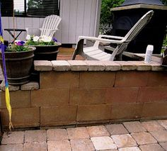 Concrete block and spray paint patio wall