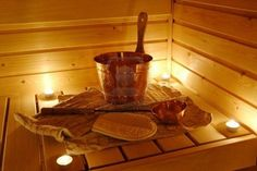 Finnish sauna in candlelight, precisely how it looks like in my family home.