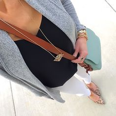 Outfits on the Daily Grey Express Cardigan + Black Barcelona Cami + White Jeans + leopard pumps + mint Fossil Harper crossbody bag Summer Work Outfits, Fall Winter Outfits, Autumn Winter Fashion, Spring Outfits, Spring Fashion, Work Fashion, Outfits 2016, Mom Outfits, Everyday Outfits