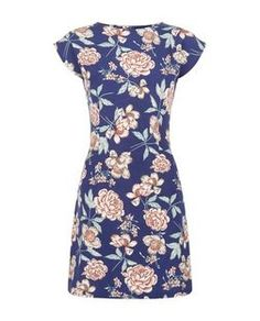 Mela Navy Rose Print Cap Sleeve Dress | New Look