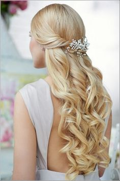 hair jewellery hair bridesmaid hair styles for long hair down hair for bridesmaids hair accessories hair jewellry wedding hair hair stylists Wedding Hairstyles Half Up Half Down, Half Up Half Down Hair, Wedding Hair Down, Wedding Hairstyles For Long Hair, Wedding Hair And Makeup, Down Hairstyles, Pretty Hairstyles, Hair Makeup, Bridal Hairstyles