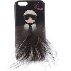 Pre-owned Fendi Karlito iPhone Case (5.678.425 IDR) ❤ liked on Polyvore featuring accessories, tech accessories, black, leather iphone case, iphone cover case, fendi and iphone sleeve case