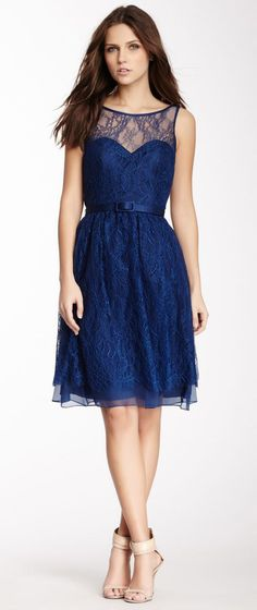 Theia Lace Belted Silk Combo Dress