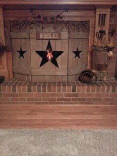 Primitive wooden fireplace screen by doreen.m