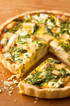 Spargelquiche An asparagus quiche that inspires! Discover delicious asparagus recipes with cheese on www. Asparagus Quiche, Asparagus Recipe, Breakfast Pizza, Vegan Breakfast Recipes, Vegan Recipes, Cheese Recipes, Pizza Recipes, Quiches, Different Recipes