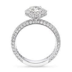 2.46 Carat Halo Design Pavé Set Diamond Engagement Ring in Platinum – Shimansky Engagement Ring Styles, Diamond Engagement Rings, Platinum Metal, Ring Crafts, Custom Jewelry Design, Fashion Rings, Diamond Jewelry, Halo, White Gold