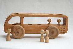Wooden Bus Wooden toy Car Cherry wood-Eco door BERTYandMASHA