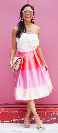 Pink Up the Day! Lollipops Color Block Printed Midi Skirt and Sweet Knot Bustier Top featured by Color and Chic Blog