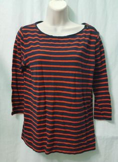 Stylus-Womens-Boat-Neck-100-Cotton-3-4-Sleeve-Striped-Shirt-Orange-Blue-Large