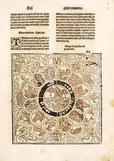 Lámina: capítulo del mundo y de los cuerpos celestiales (p.3). En: De propietatibus rerum (en castellano) / [Bartholomaeus Anglicus ; trad. por Fray Vicente de Burgos]-Emprimido en la noble ciudad de Tholosa : por Henrique Meyer ... , 18 de septiembre de 1494. Enciclopedia medieval que alcanzó gran difusión. Acceso al texto en UCM http://absysnetweb.bbtk.ull.es/cgi-bin/abnetopac01?TITN=223192