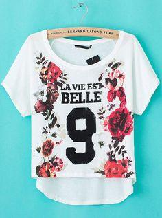 Kurzärmeliges lockeres Blumen Shirt mit 9 Print, weiß EUR€15.97