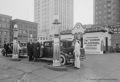 """From the Nebraska State Historical Society, this 1933 station sold gas with """"corn alcohol."""" The gas we buy today is about ethanol. Old Gas Pumps, Vintage Gas Pumps, Vintage Auto, Vintage Stuff, Vintage Images, Pictures Of Gases, Pinup, Cities, Places"""