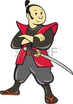 ilustraci n de un guerrero samurai japon s con una espada hecha en estilo de dibujos animados sobre  Foto de archivo
