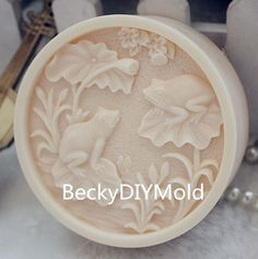 1pcs Lotus Pond with Frog (ZX113) Silicone Handmade Soap Mold Crafts DIY Mould