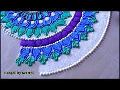 Beautiful rangoli design with colours l muggulu kolam rangoli l रंगोली ड. Rangoli Designs Simple Diwali, Easy Rangoli Designs Diwali, Indian Rangoli Designs, Rangoli Designs Latest, Rangoli Border Designs, Rangoli Patterns, Small Rangoli, Rangoli Ideas, Rangoli Designs With Dots