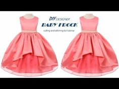 DIY Designer Baby Frock cutting and stitching Full Tutorial Little Girl Pageant Dresses, Girls Dresses Sewing, Dresses Kids Girl, Prom Dresses, Baby Dresses, Formal Dresses, Neck Designs For Suits, Baby Design, Frocks