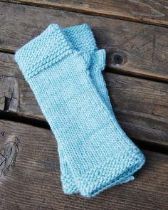 Baby Blue Fingerless Gloves hand knit handwarmers in by iheartewe