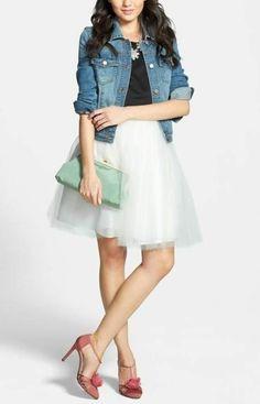 SJP 'Etta' pumps, tulle dress, denim jacket and a pop of mint