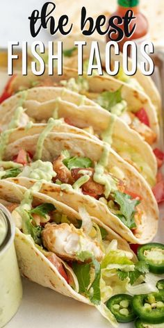 The best Fish Tacos made even tastier with the addition of creamy avocado sauce. Shake things up at your next Taco Tuesday night by surprising everyone with these delicious tacos made with fresh cod. Recipes fish Fish Tacos with Avocado Sauce Fish Dishes, Seafood Dishes, Seafood Appetizers, Latin Food, Mexican Food Recipes, Dinner Recipes, Recipes With Fish, Fish Taco Recipes, Best Fish Taco Recipe
