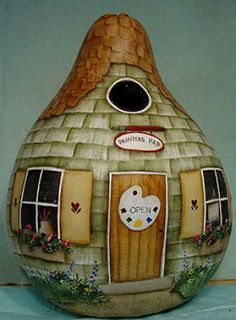 Great Garden Gourds Book by Aurelia Conway - Decorative Painting - Craft Books - Craft Supplies Cute cottage Hand Painted Gourds, Decorative Gourds, Book Crafts, Arts And Crafts, Craft Books, Gourds Birdhouse, Birdhouses, Bird Houses Painted, Cute Cottage