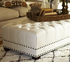 Beautiful Tufted Ottoman from Pottery Barn