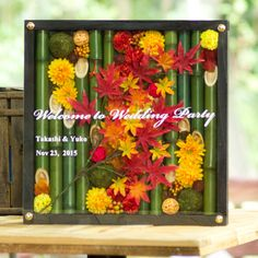 和風ウェルカムボードー木枠ボードー秋 - 結婚式 ウェルカムボードや和風名入れフラワーギフト-花ネットオレンジ