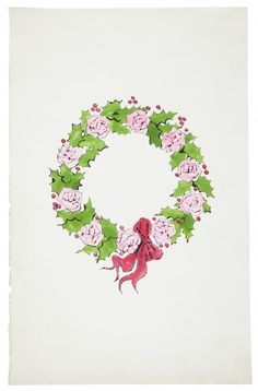 WREATH: Andy Warhol, Wreath, ink and watercolor on paper, Drawn circa 1956 © The Andy Warhol Foundation for the Visual Arts, Inc.