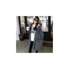Plain Long Knit Coat ($23) ❤ liked on Polyvore featuring outerwear, coats, women, long knit coat, long length coats, olive coat, knit coat and olive green coat