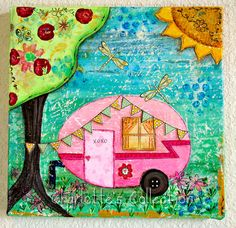 Pink Trailer Love Shack Original Mixed Media 10 x 10 Canvas