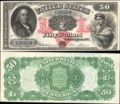 US 50 Dollar Note     1874     Serial# E26002     Signatures: Allison / Spinner  Liberty dressed as Columbia     Portrait: Benjamin Franklin