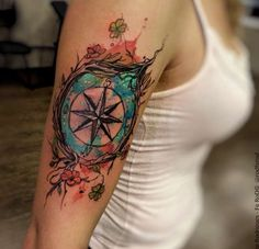 Watercolor Compass Tattoo by Felipe Rodrigues Fe Rod