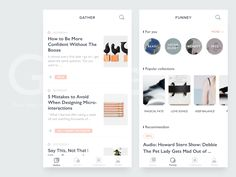 Gather - Read what you gillsans font typography fresh grey white simple app ui Mobile Ui Design, App Design, Card Ui, Ios News, Human Centered Design, Ui Components, Ui Patterns, Apps, Simple App