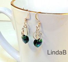 earrings with hearts and emeralds - Google Search