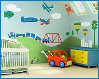 transportation bedroom wall decor - 32 Large Self-adhesive Kids Wall Mural Stencils - Zoom! Zoom! Zoom! Is your little boy fascinated with trains, planes and automobiles? Then buckle your seat belts, because there is no beating our transportation theme stencil kit. Your childs mind will be buzzing with the space you can create. Have a plane pull a banner with his name. Launch a rocket to the stars. Wind a five-foot train through rolling hills and over a large bridge. It will be easy to get…