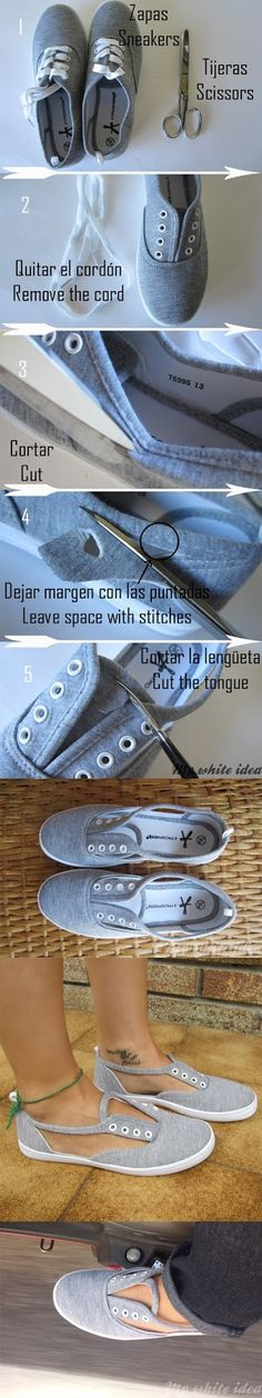 Easy way to make those ugly flat shoes into something so cool